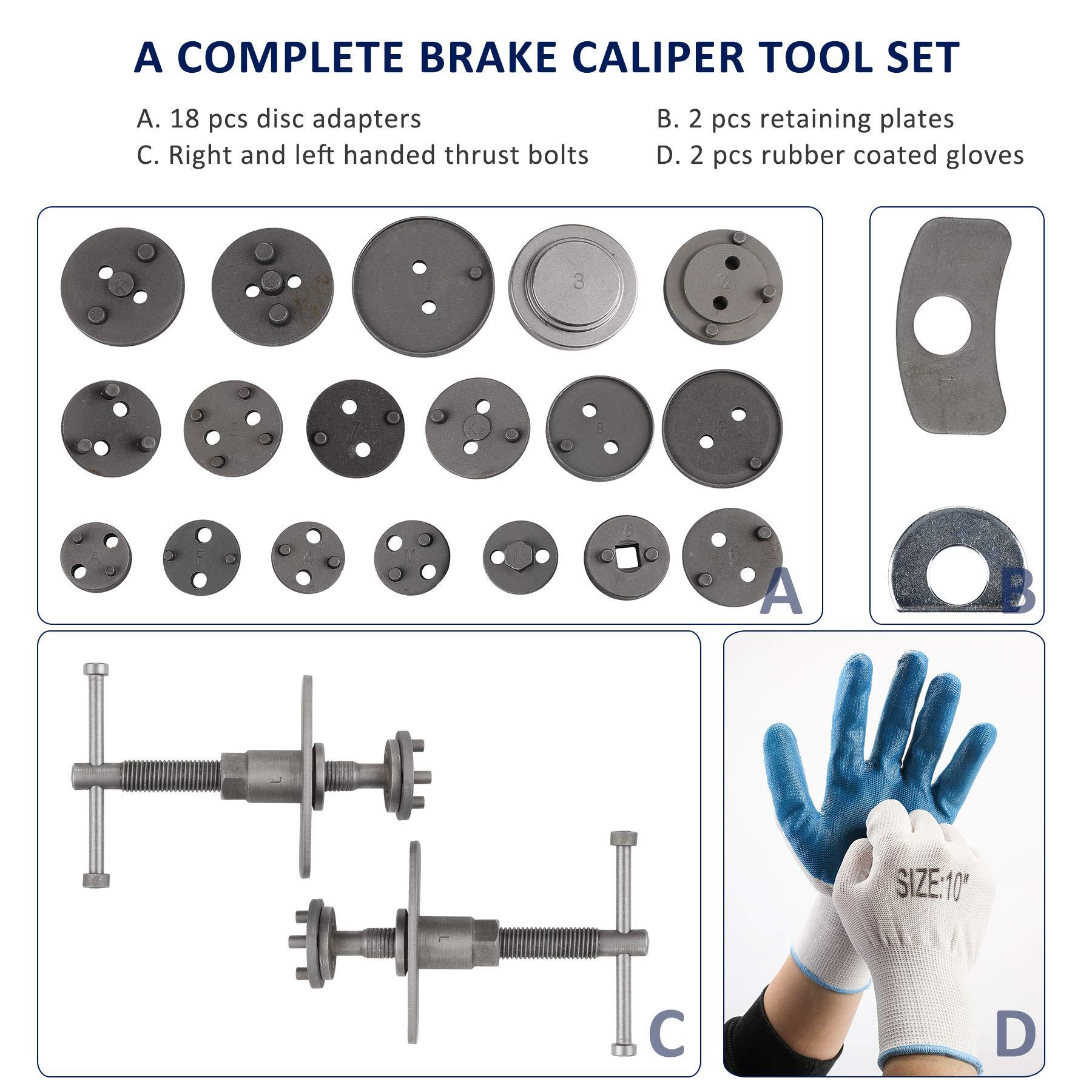 OrionMotorTech 24-Piece Disc Brake Caliper Tool Kit, Front