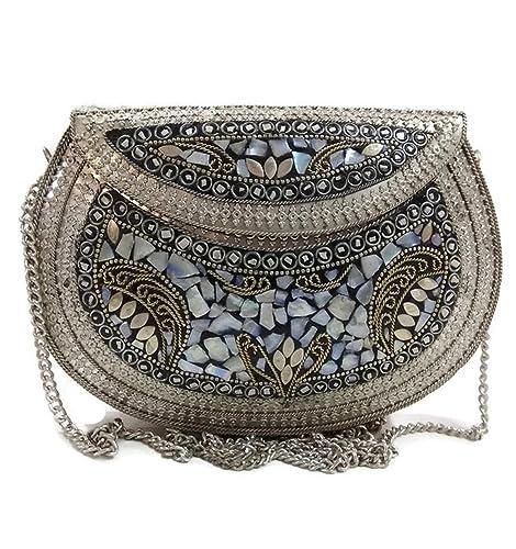 Embrague de plata étnica, regalo para mujer, bolsas de mosaico de metal, bolsa