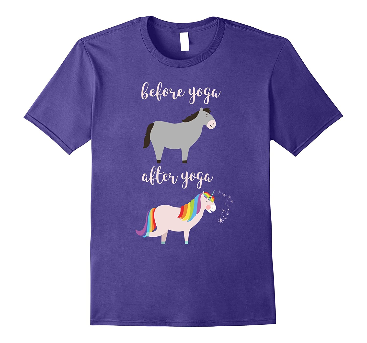 Before After Yoga Donkey Llama Unicorn Zen Meditation Tshirt-FL