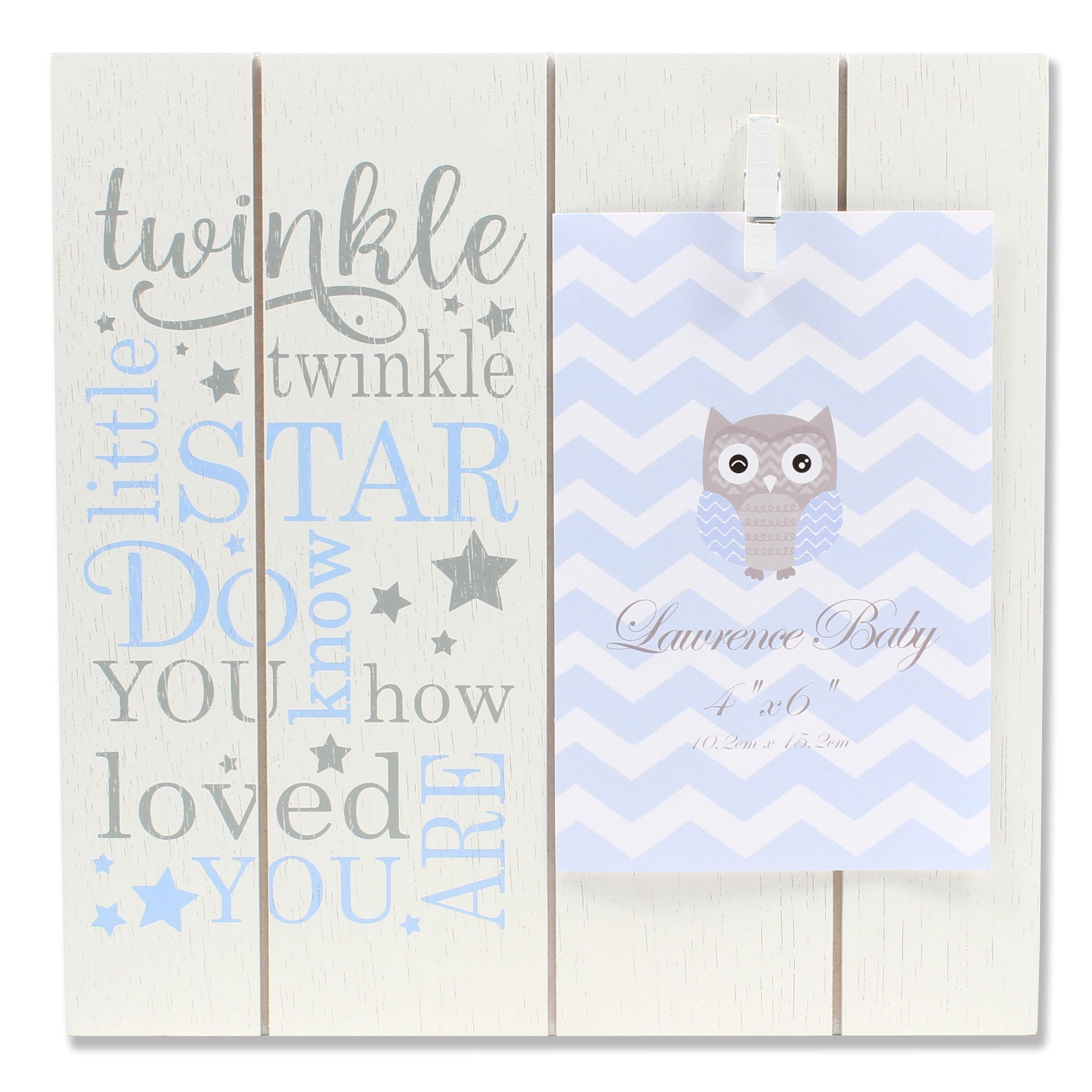 Lawrence Frames 4x6 Distressed White and Blue Wood Frame Twinkle Picture