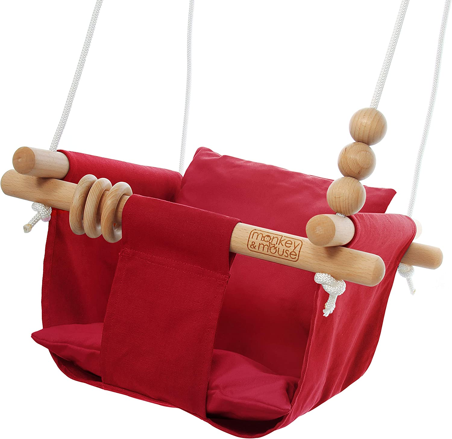 Monkey & Mouse Secure Canvas and Wooden Hanging Swing Seat Chair with Baby, Infant, Toddler, Kids Toys - Indoor Hammock (Red)