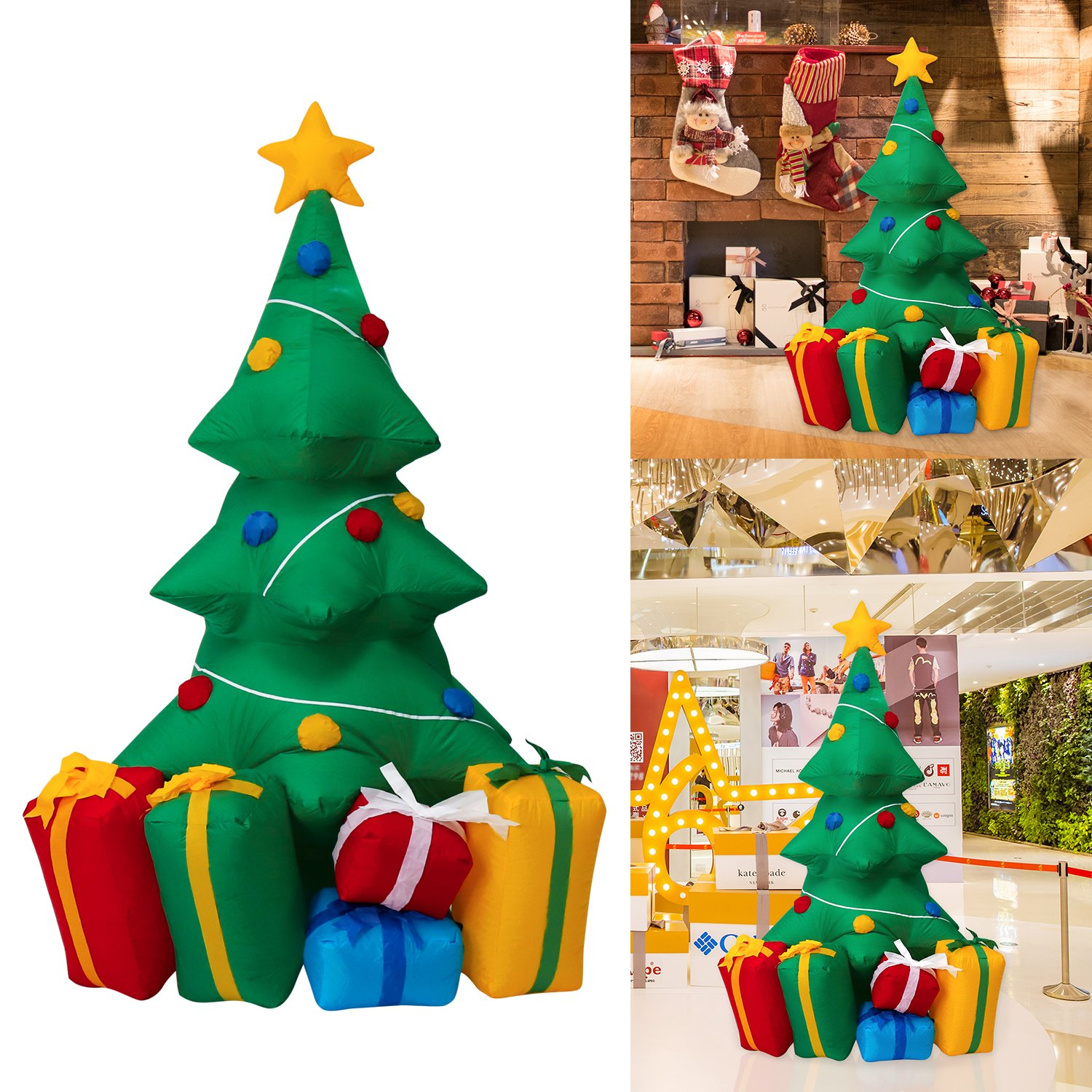 Peach Tree 5 Foot Inflatable Christmas Tree with Gift Boxes Air Blown Outdoor Indoor Yard Garden Decoration by Peachtree Audio