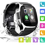 Smart Watch Bluetooth Smartwatch Unlocked cell Phone Watch with SIM TF Card Smart Wrist Watch with Camera Fitness Tracker Sports Watch for All Android Phones Samsung Huawei Men Women Kids (Black)