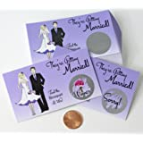 bridal shower scratch off game card ticket set purple vintage bride bridesmaid maid of honor 25