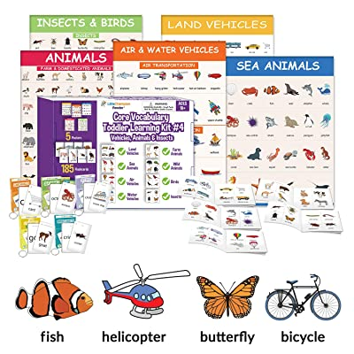 Little Champion Reader Teach Core Vocabulary Toddler Learning Kit 4 (Vehicles & Animals) - Land Vehicles, Sea Animals, Air Vehicles, Water Vehicles, Farm Animals, Wild Animals, Birds and Insects: Toys & Games