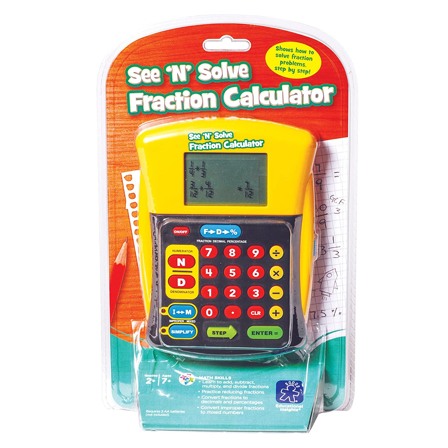 Amazon : Educational Insights See 'n' Solve Fraction Calculator : Math  See And Learn : Office Products