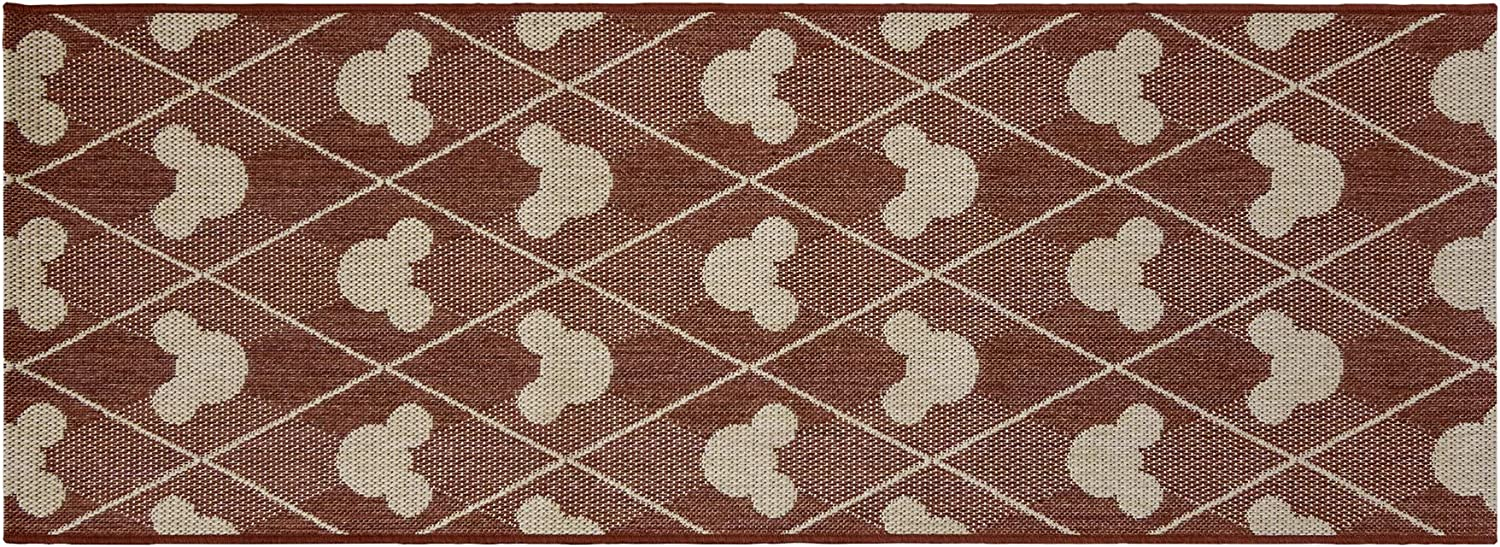 Gertmenian 31310 Disney Outdoor Rug Patio Mickey Mouse Outside Carpet, 2x6 Runner, Diamond Tile Apple Red