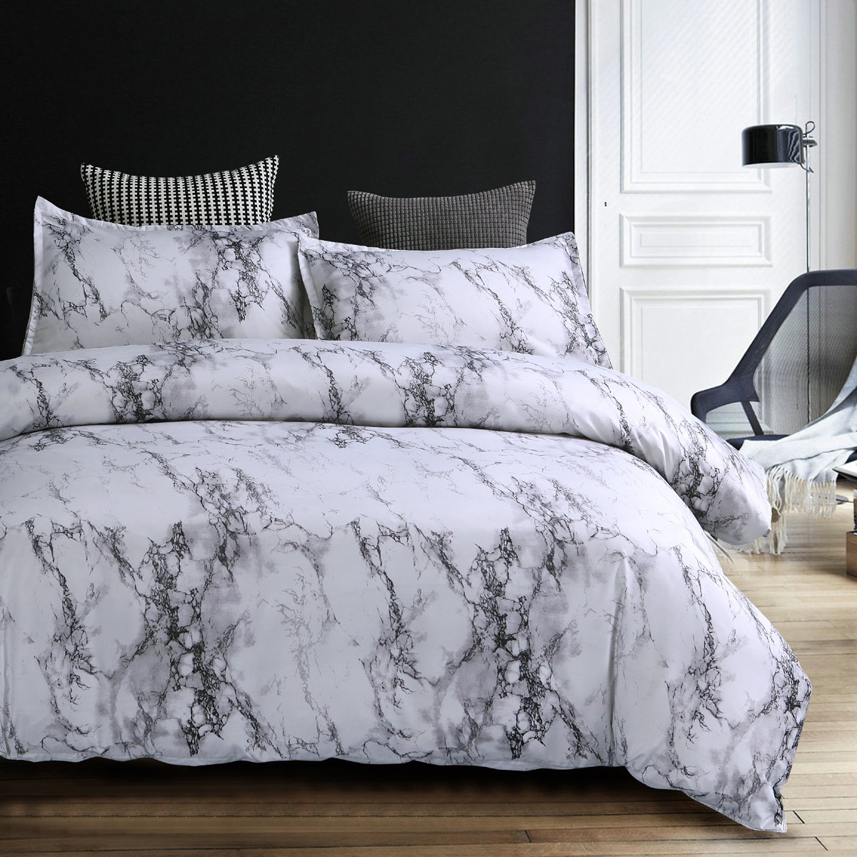 Nattey Duvet Cover Set Marble Bedding Set with Zipper (Full, White Marble)