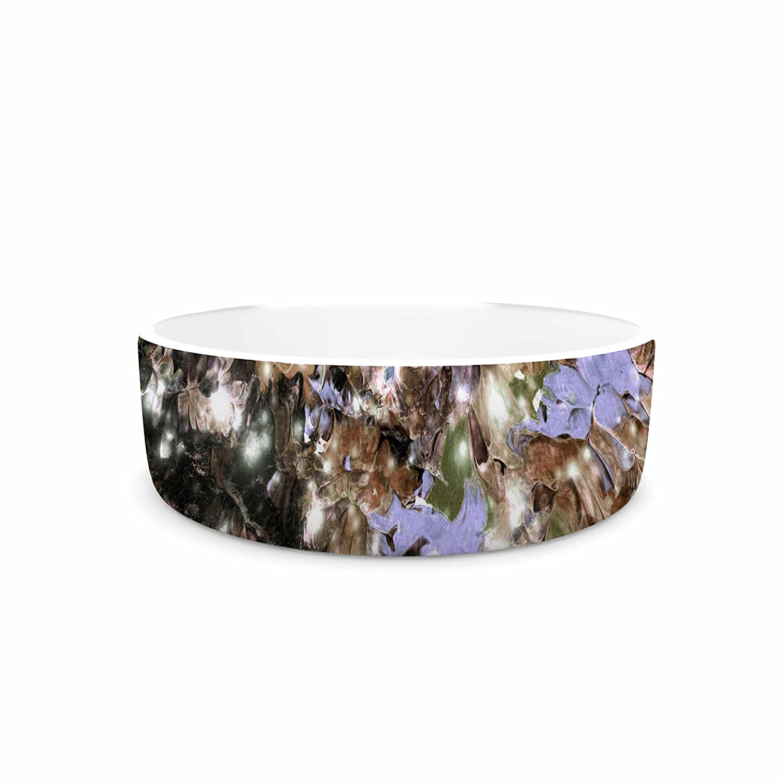 KESS InHouse EBI Emporium Cocoa Nebula Brown Tan Painting Pet Bowl, 7  Diameter