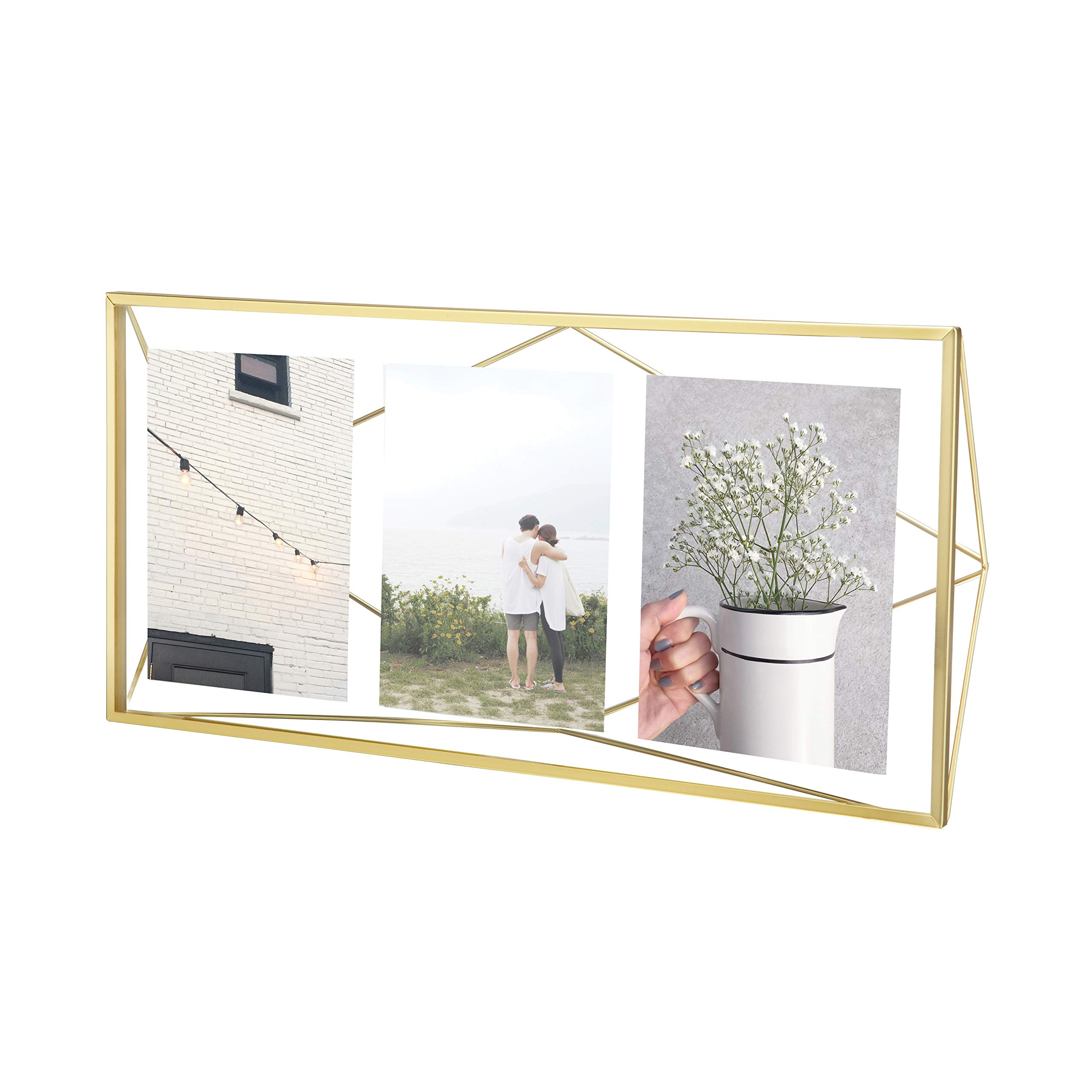 Umbra Prisma Multi Picture Frame - Photo Display for Desk or Wall, Brass by Umbra