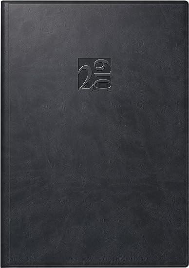 rido/idé 702300590 Buchkalender studioplan int., 2 Seiten = 1 Woche, 168 x 240 mm, Kunstleder-Einband West schwarz, Kalendarium  2019 mit Registerschnitt