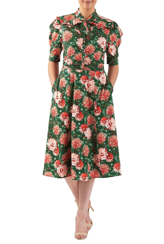 1940s Style Dresses and Clothing eShakti Womens Tie neck floral print crepe shirtdress $71.95 AT vintagedancer.com