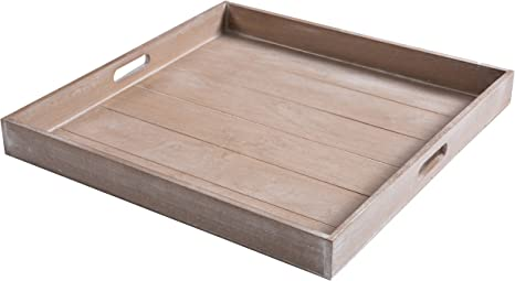 Amazon Com Mygift Large Shabby Chic Square Wood Serving Tray For Breakfast In Bed Tea Coffee 19 X 19 Inch Kitchen Dining