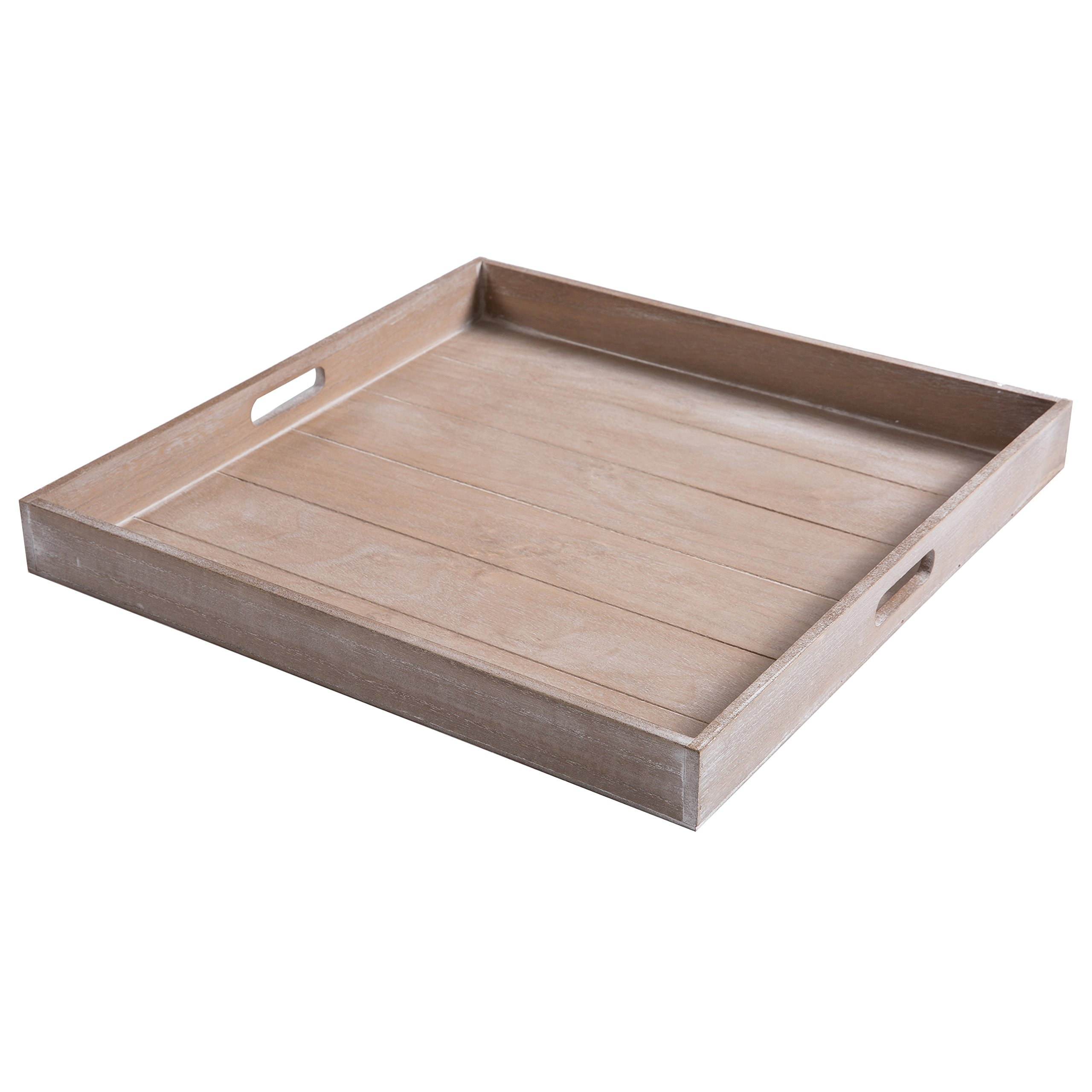 MyGift Large Shabby Chic Square Wood Serving Tray for Breakfast in Bed, Tea, Coffee - 19 x 19 inch by MyGift