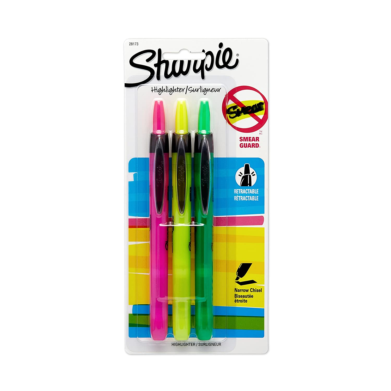Sharpie 28175PP Accent Retractable Highlighters, Chisel Tip, Assorted Colors, 5-Count