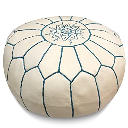 Fantastic Mina Stuffed Moroccan Leather Pouf Ottoman Many Colors Available 20 Diameter And 13 Height White With Blue Stitches Short Links Chair Design For Home Short Linksinfo