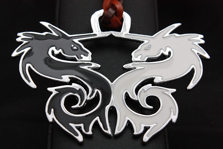 Llavero de Cuero trenzado, Yin Yang (Dragones) en Zamak ...