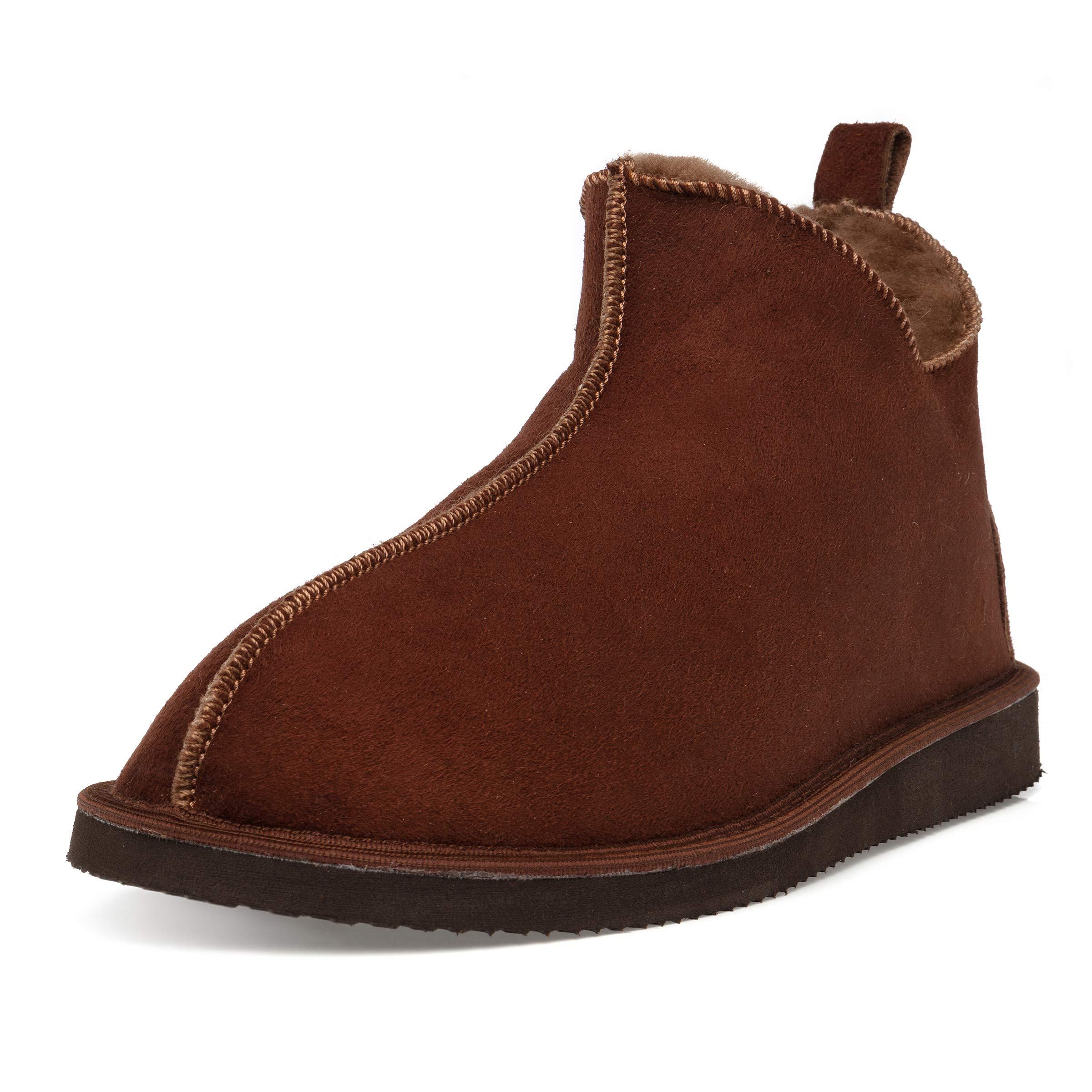 Ciora Women s Luxury Handmade Genuine 100% Sheepskin Ankle Boot Slippers  (Non-Slip Sole 82d11a6440a8