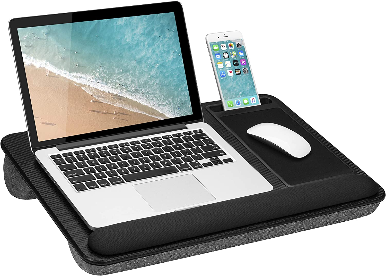 LapGear Home Office Pro Lap Desk with Wrist Rest, Mouse Pad, and Phone Holder - Black Carbon - Fits Up to 15.6 Inch Laptops - Style No. 91598