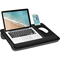LapGear Home Office Pro Lap Desk with Wrist Rest, Mouse Pad, and Phone Holder - Black Carbon - Fits Up To 15.6 Inch…