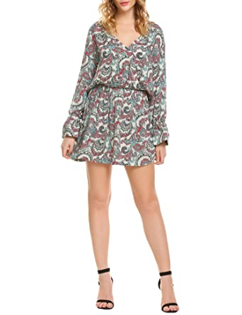 a461291b3745 SE MIU Women Print Long Sleeve Sexy Deep V-neck Floral Chiffon Mini Dress  White