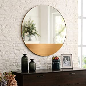 MOTINI 32 Inch Round Decorative Wall Mirror Large Modern Brushed Brass Metal Frame Mirror Wall Mounted for Wall Decor, Living Room, Bedroom