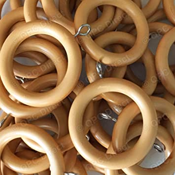 10 PACK Cream Wooden Curtain Rings to fit 28mm Wooden Curtain Poles