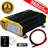 KRIËGER 1100 Watt 12V Power Inverter Dual 110V AC outlets, Installation kit included, Automotive back up power supply for Blenders, vacuums, power tools ... MET approved according to UL and CSA.