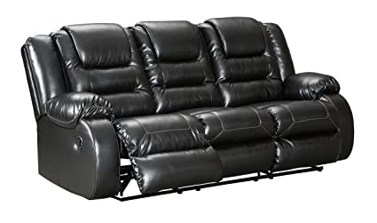 Vacherie Contemporary Black Color Faux Leather Reclining Sofa