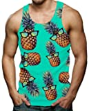 RAISEVERN Men's Funny Tank Tops 3D Printed Cool Graphic Sleeveless Cool Gym Workout T-Shirt