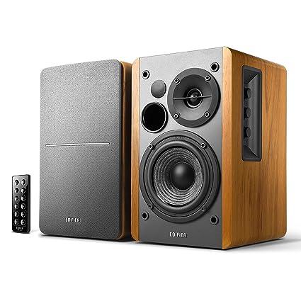 Review Edifier R1280DB Powered Bluetooth Bookshelf Speakers - Optical Input - Wireless Studio Monitors - 4 Inch Near Field Speaker - 42w RMS - Wood Grain (Wood)