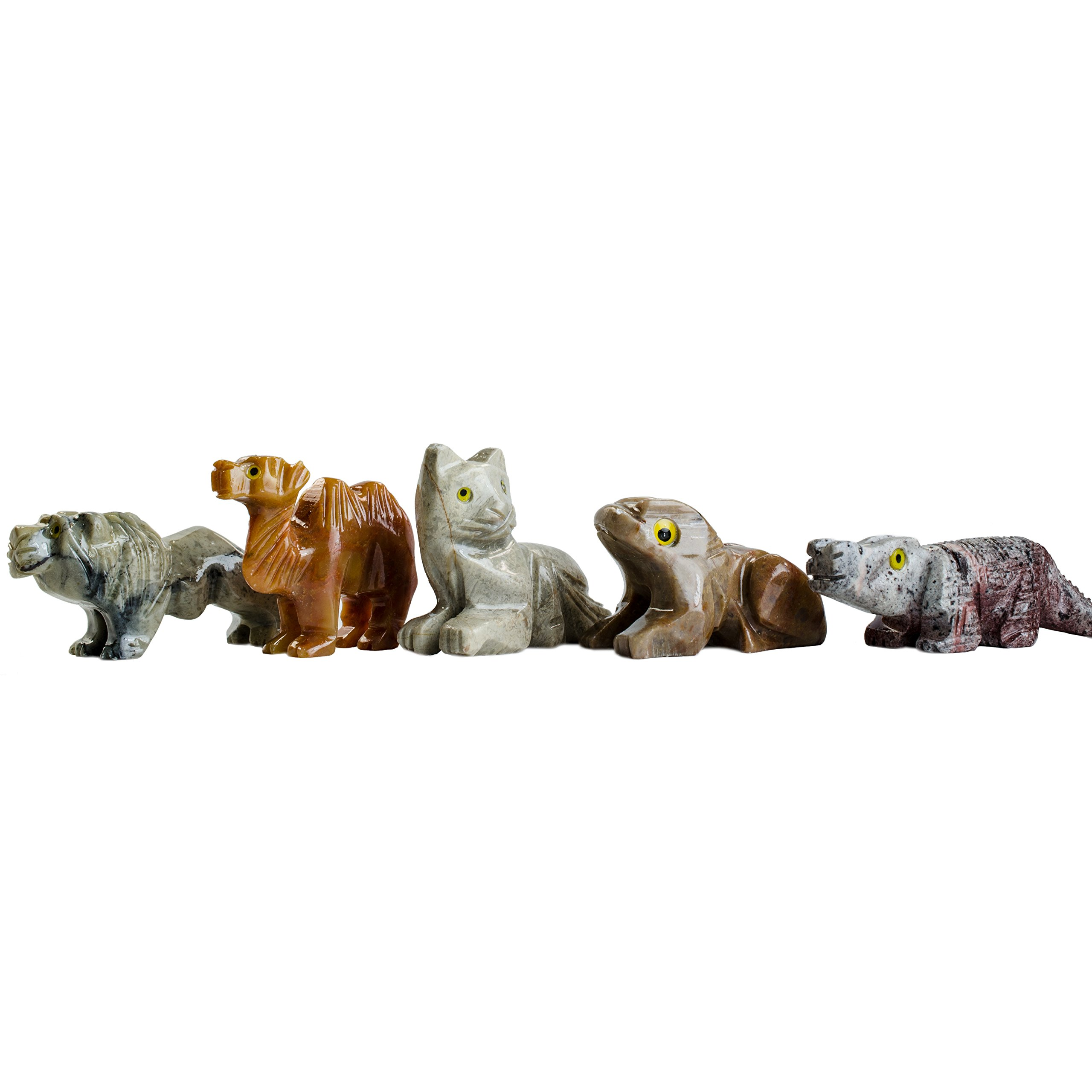 Fantasia Creations: 10 pcs Assorted Soapstone Figurines - Hand Carved Animals and More by Fantasia's Master Artisans for Party Favors, Collecting, Wire Wrapping, Gifts and More!