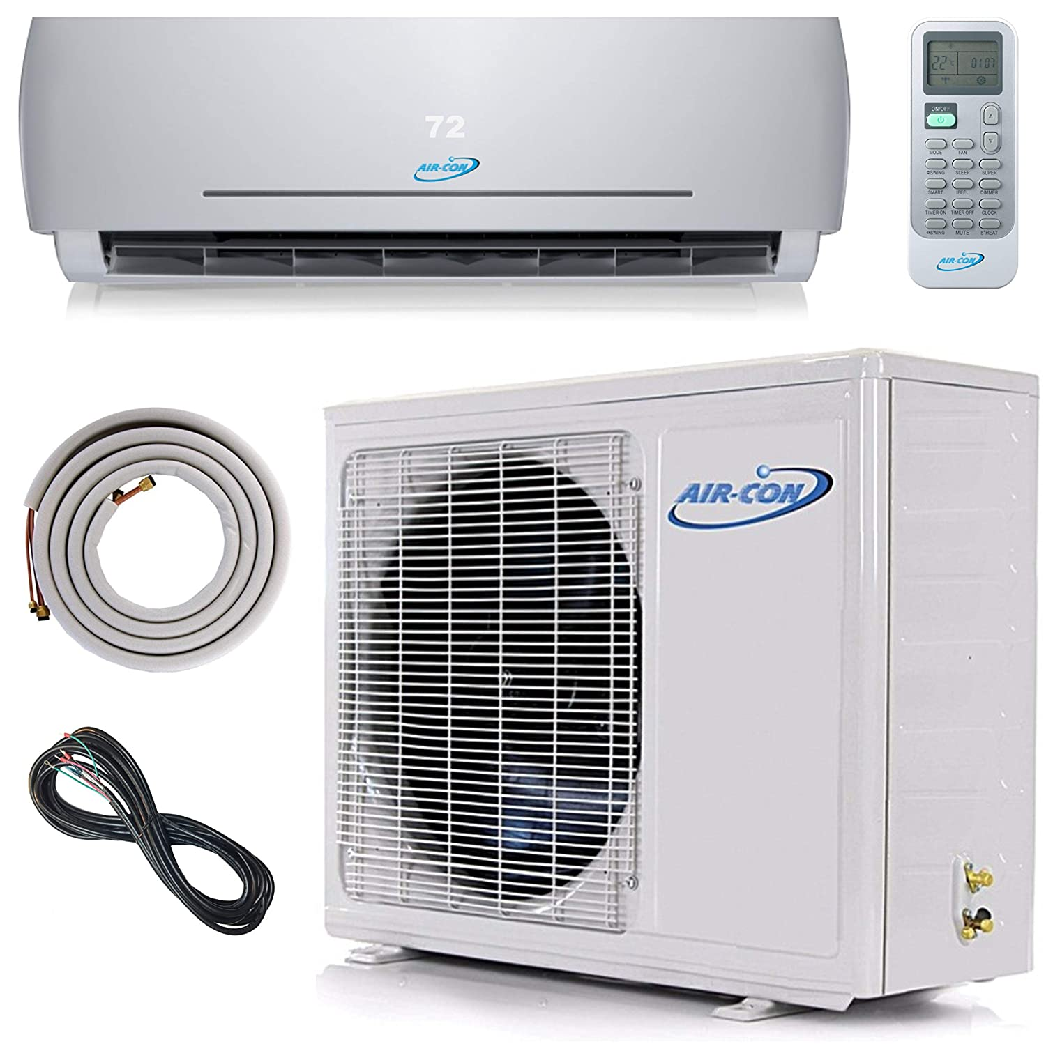 12000 BTU Mini Split Ductless Air Conditioner – 21 SEER - Includes Free 12' Lineset and Wiring - Arrives 100% Ready to Install - Pre-Charged Inverter Compressor – 1 Ton Heat Pump - USA Parts and Tech