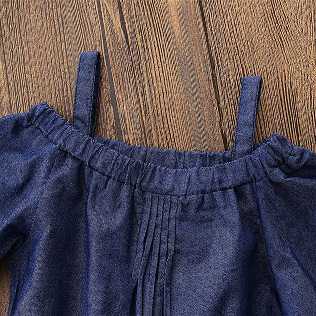 Longay Toddler Baby Kids Girls Off Shoulder Deinm Straps Jumpsuits Romper Clothes