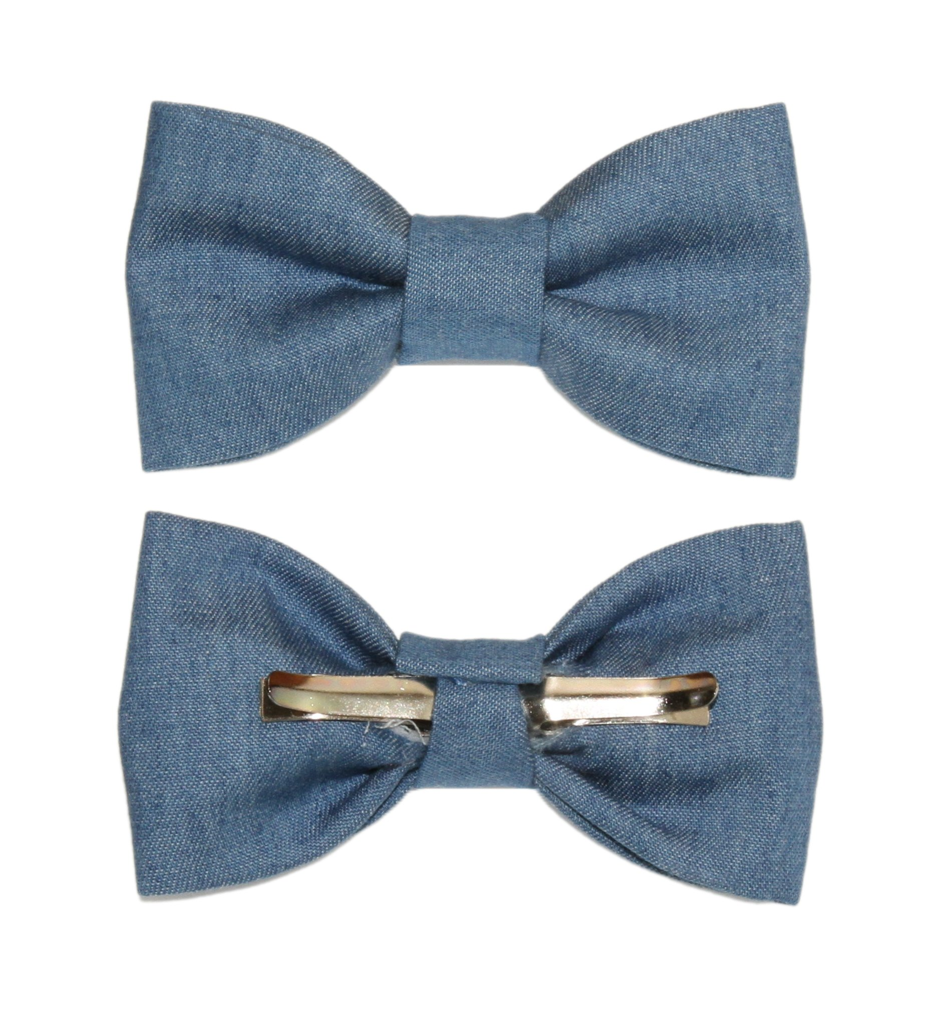 Toddler Boy 4T 5T Medium Blue Denim Clip On Cotton Novelty Bow Tie