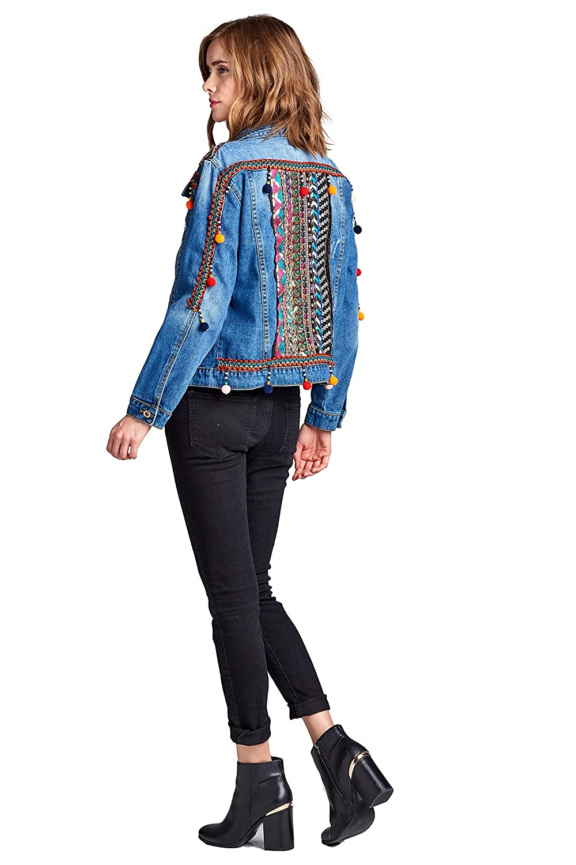 Amazon.com: velzera Mujer pompón adornado Denim chamarra de ...