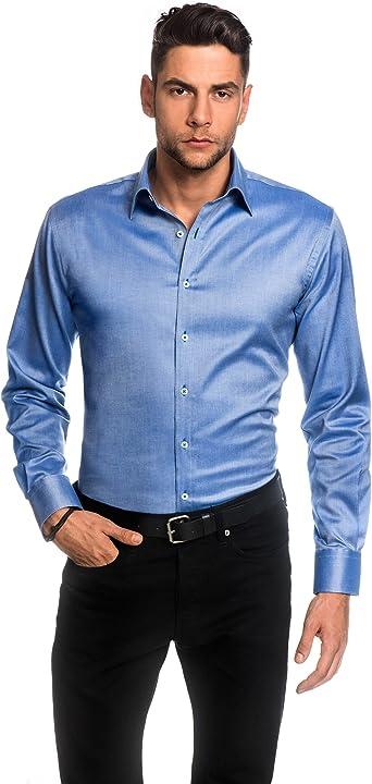 EMBRAER Camisa de Hombre, Ajustada Entallada (Slim-fit), Oxford, 100% algodón, Manga-Larga, Cuello Kent, Lisa - fácil de Planchar Azul Claro 37/38: Amazon.es: Ropa y accesorios