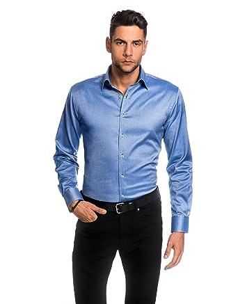 EMBRÆR Herren-Hemd Slim-Fit Tailliert Bügelleicht 100% Baumwolle Oxford  Uni-Farben