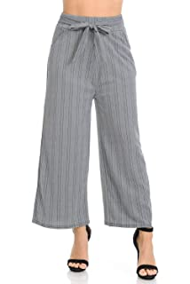 825b512f5b Auliné Collection Womens High Waisted Wide Leg Culottes Cropped Palazzo  Pants