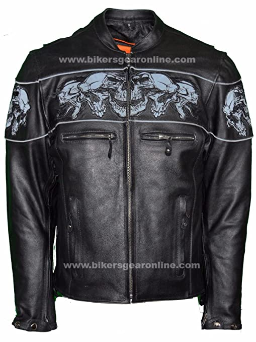 Dealer Leather MENS RIDING REFLECTIVE SKULLS CROSSOVER LEATHER JACKET VENTED THICK LEATHER NEW (XL Regular)