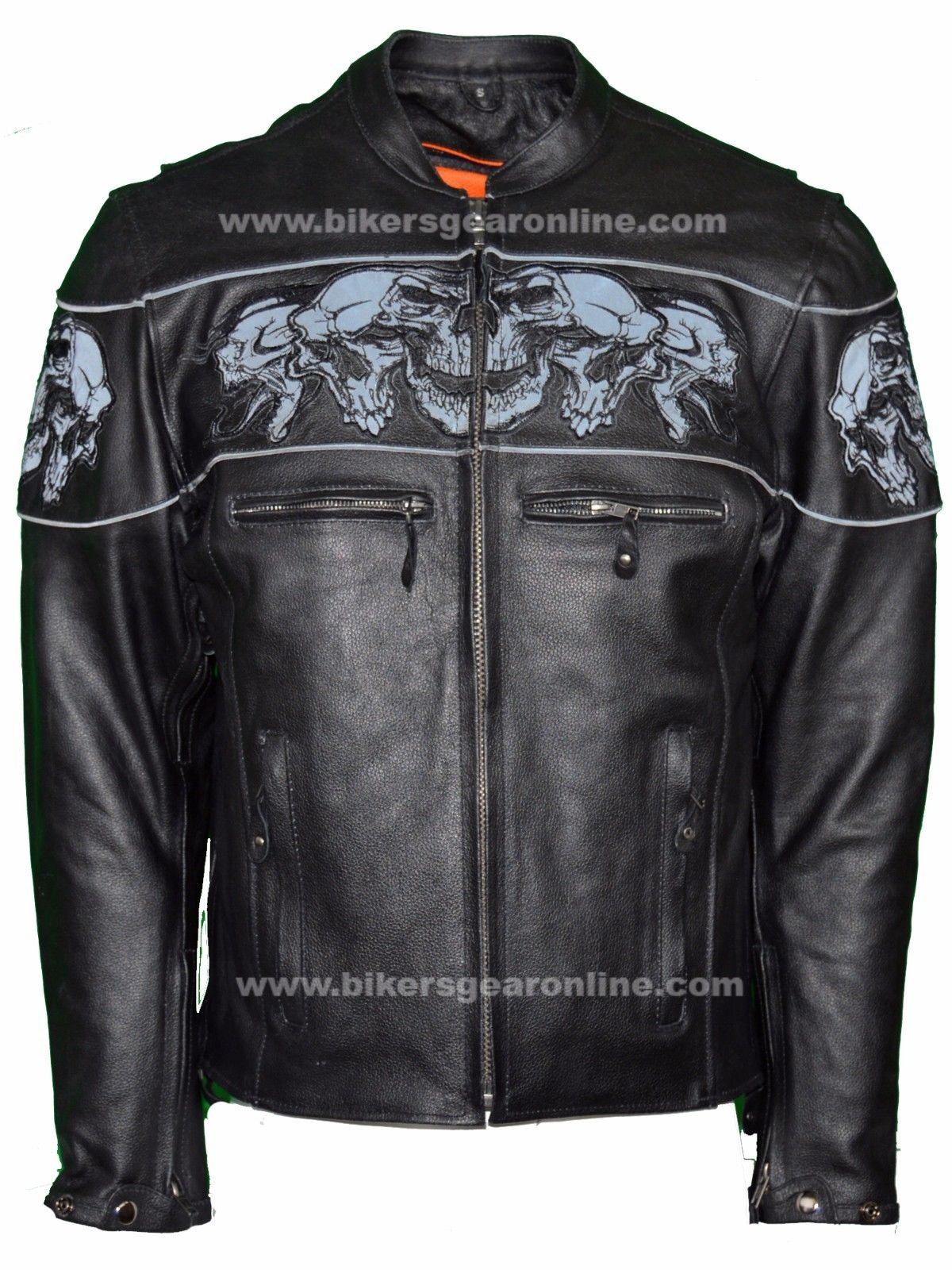 Dealer Leather MEN'S RIDING REFLECTIVE SKULLS CROSSOVER LEATHER JACKET VENTED THICK LEATHER NEW (L Regular)
