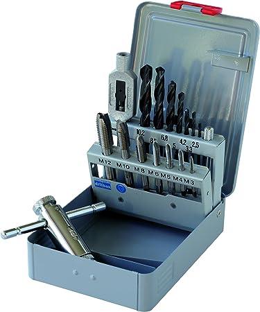 GERTUS 1302020 - Juego de herramientas para cortar roscas en estuche de metal, M3-M12: Amazon.es: Bricolaje y herramientas