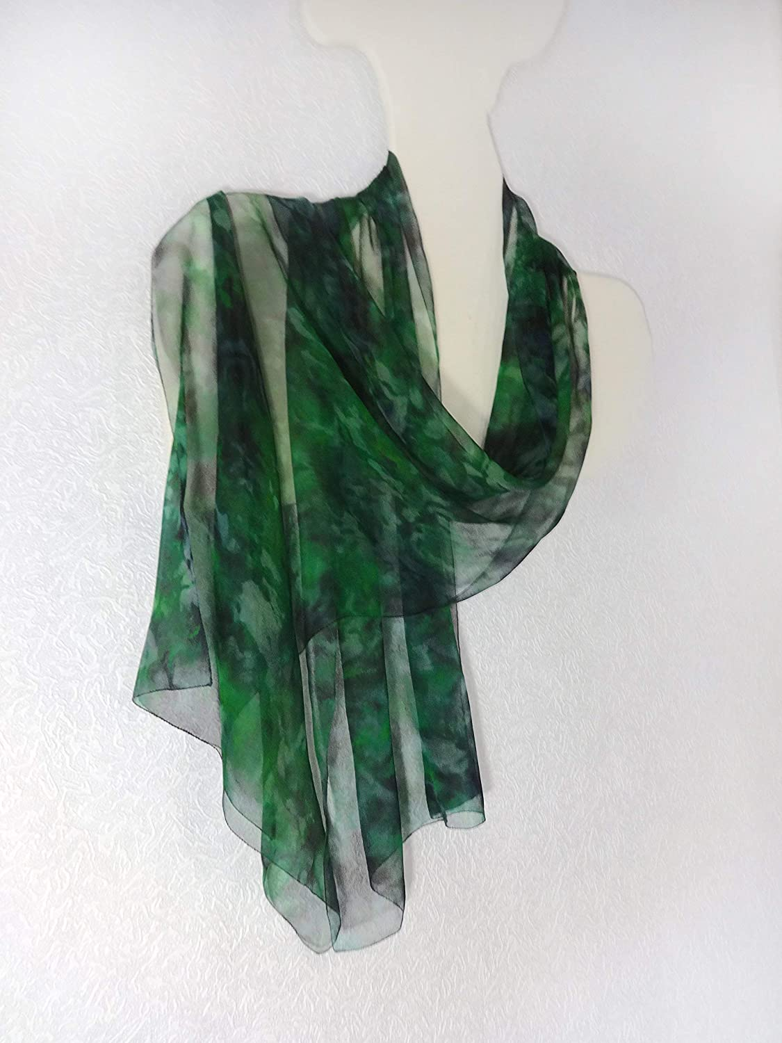 670043a4100eb Amazon.com: Scarf Green Silk Hand Painted Long Sheer Chiffon Wrap Shawl:  Handmade