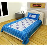 RajasthaniKart Classic 180 TC Cotton Single Bedsheet with Pillow Cover - Abstract, Blue