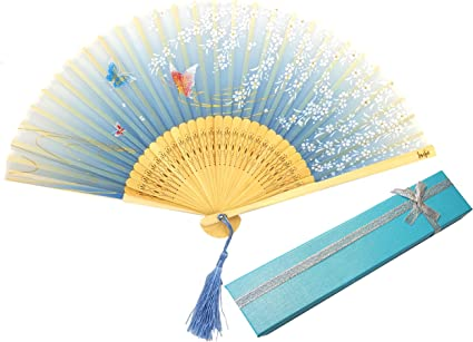 Retro Fächer Taschenfächer Handfächer Klappfächer mit Blumen 8-Farbe