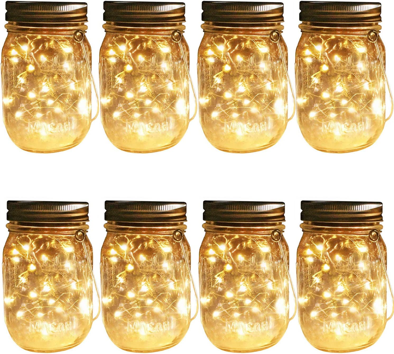 Solar Mason Jar Hanging Lights, 8 Pack 30 LEDs(Jar & Hangers Included) String Fairy Lights Glass Solar Laterns Table Lights,Great Outdoor Lamp Décor for Patio Garden Yard Deck Floor and Lawn