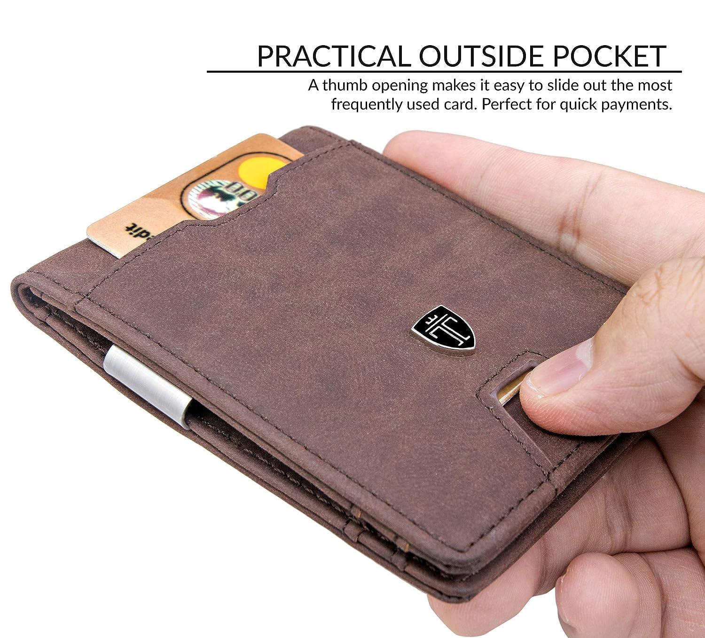 TRAVANDO Cartera con Pinza para Billetes DUBAI Bloqueo RFID Seguridad tarjetera hombre slim billetera, estuche, monedero pequeño, masculino (Marrón): ...