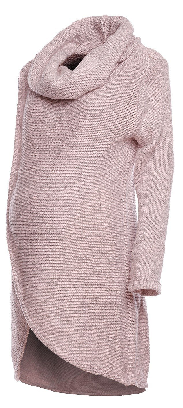Happy Mama. Womens Maternity Nursing Wrap Knitted Layered Jumper Pullover. 359p (Pink Melange, US 6/8, ONE SIZE)