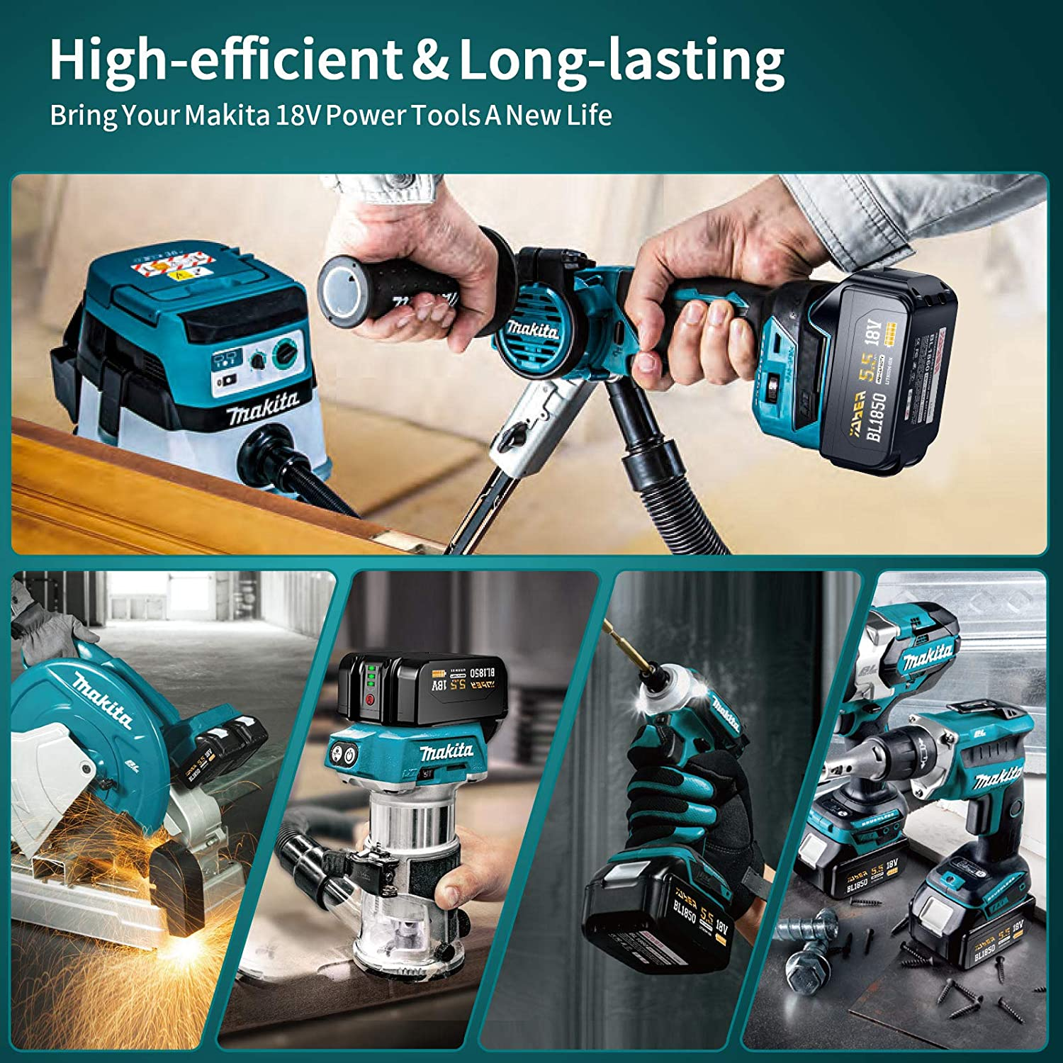 YABER 18V 5500mah Battery Compatible with Makita 18V Tools LXT-400 BL1830B BL1840B BL1850B BL1860B Cordless Drills/&Tools Fit for DC18RC DC18RD 18V C harger C harger is not Included