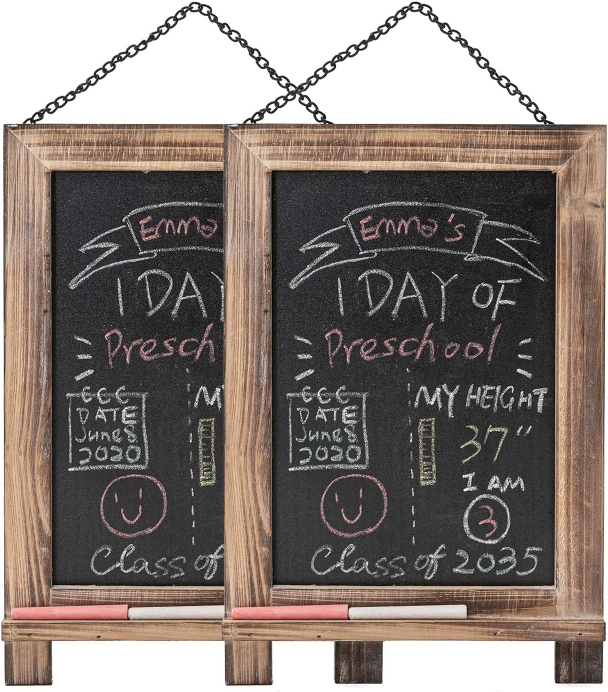 "9.5"" x 14"" Hanging Reusable ChalkBoards School Signs 2 PCS Blackboards with Frame for Food, Wedding, Restaurants, Office, First and Last Day of School"